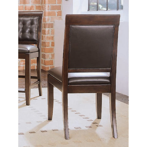 American Drew Tribecca Upholstered Leather Side Chair-KD in Root Beer Color