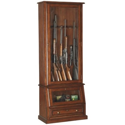 American Furniture Classics 12 Gun Slanted Base Cabinet In Medium Brown