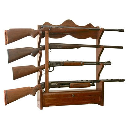 American Furniture Classics 4 Gun Wall Rack In Medium Brown