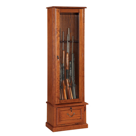 American Furniture Classics 8 Gun Cabinet In Medium Brown