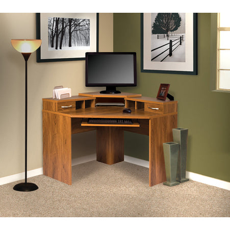 American Furniture Classics Corner Desk With Monitor Platform In Autumn Oak