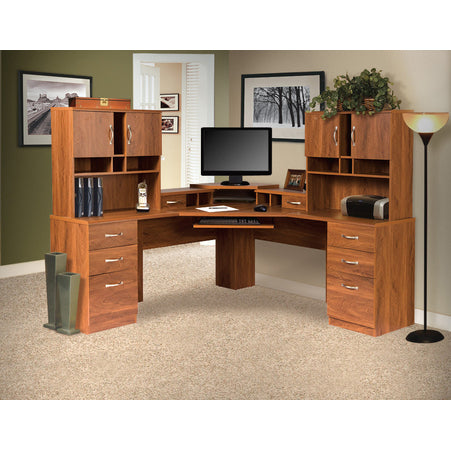American Furniture Classics L Work center With Monitor Platform And Two Hutches In Autumn Oak