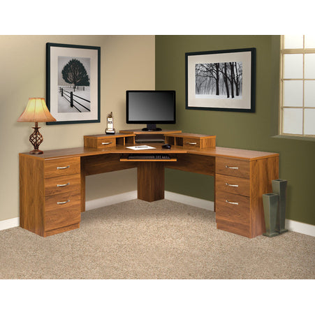 American Furniture Classics L Work center With Monitor Platform In Autumn Oak