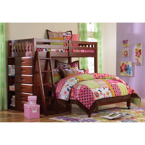 American Furniture Classics Loft Twin Over Full In Merlot