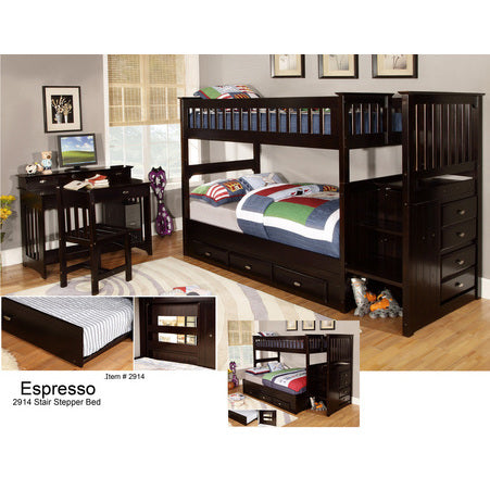 American Furniture Classics Mission Staircase Twin Over Twin Bunk In Espresso