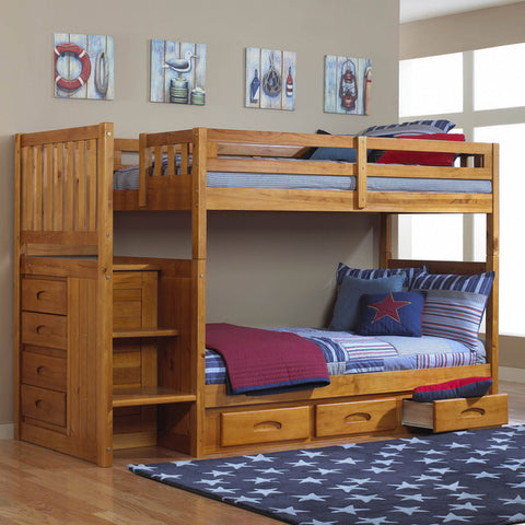 American Furniture Classics Mission Staircase Twin Over Twin Bunk In Honey