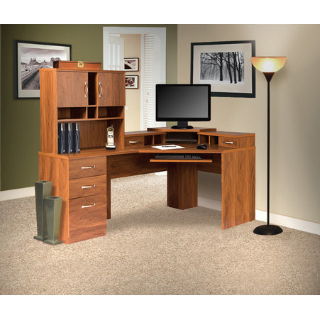 American Furniture Classics Reversible Corner Work center With Hutch In Autumn Oak