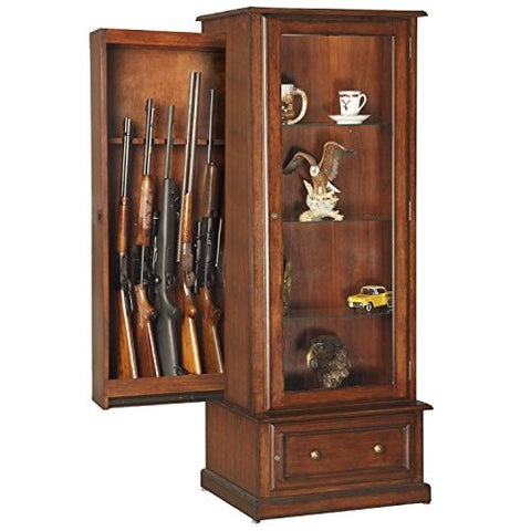 American Furniture Classics Rta-10 Gun/Curio Slider Cabinet Combination In Medium Brown
