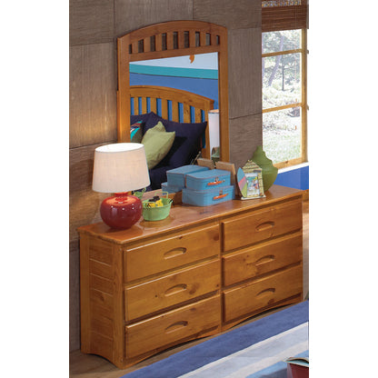 American Furniture Classics Six Drawer Dresser With Mirror In Honey
