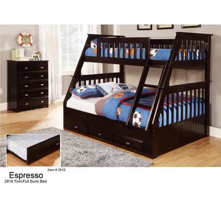 American Furniture Classics Twin Over Full Bunk In Espresso