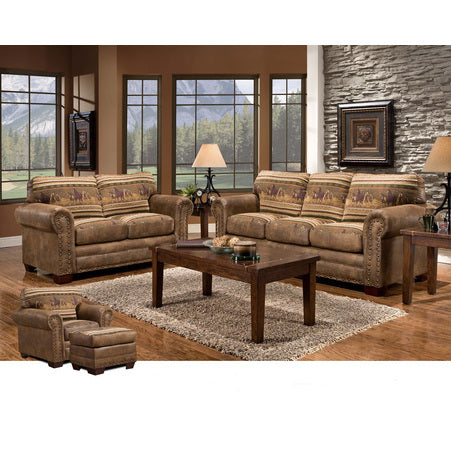 American Furniture Wild Horses 4 Piece Living Room Set With Sleeper