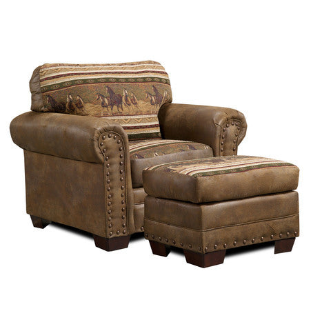 American Furniture Wild Horses Chair And Ottoman Set