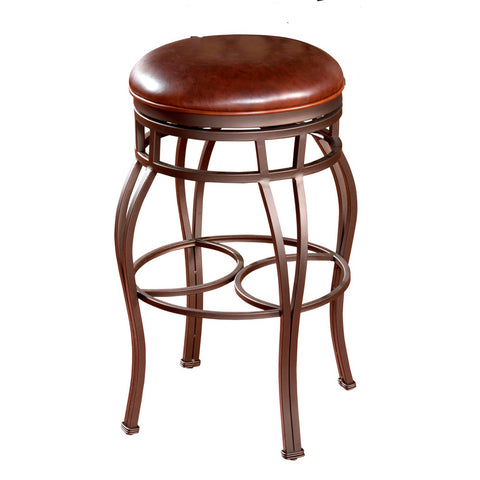 American Heritage Bella - Backless Stool in Pepper w/ Bourbon Leather