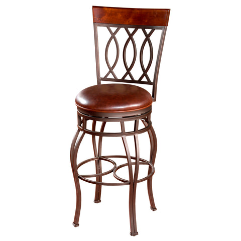 American Heritage Bella Stool in Pepper w/ Bourbon Leather