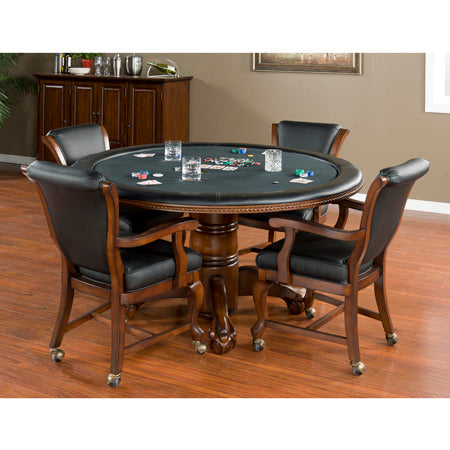 American Heritage Hustler Collection Poker Table and 4 Clarisa Chairs Gameroom Set in Suede