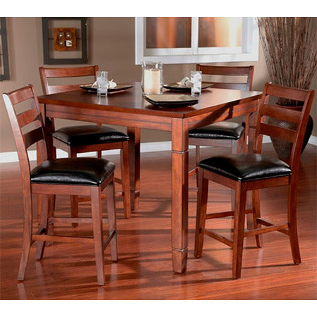 American Heritage Rosa Collection Counter Height 2 in 1 Dining Table and 4 Chairs Black Cushion in Suede