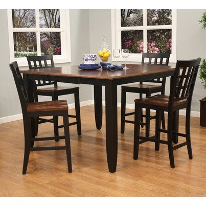 American Heritage Rosetta 5 Piece Counter Height Dining Set w/ Mia Stools