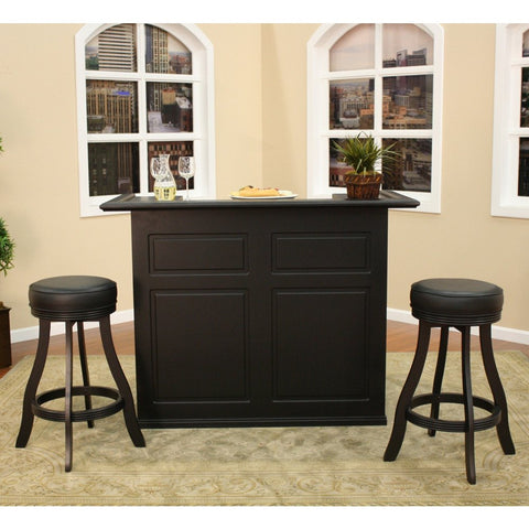 American Heritage Trenton 3 Piece Bar Set w/ Designer Barstools in Black