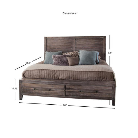 American Woodcrafters Aurora Weathered Gray Panel Bed with Storage