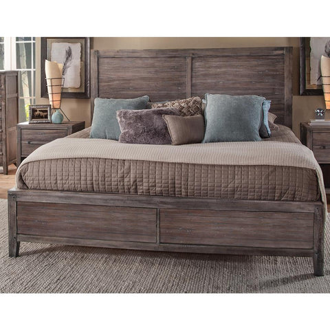 American Woodcrafters Aurora Weathered Gray Panel Bed