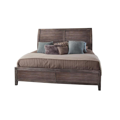 American Woodcrafters Aurora Weathered Gray Sleigh Bed