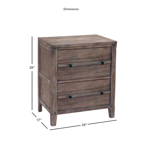 American Woodcrafters Aurora Weathered Gray Two Drawer Nightstand