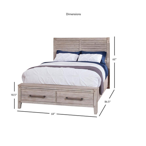 American Woodcrafters Aurora Whitewashed Panel Bed with Storage