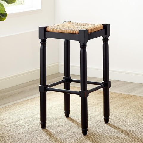 American Woodcrafters Poppy Black Backless Stool