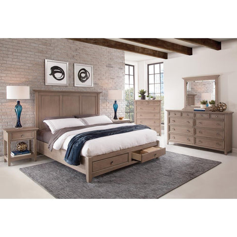 American Woodcrafters Quebec Panel Storage Bed in Driftwood