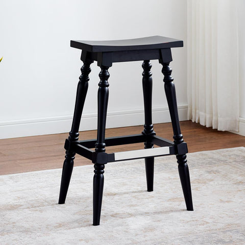 American Woodcrafters Yara Black Backless Stool