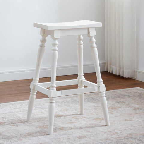 American Woodcrafters Yara White Backless Stool