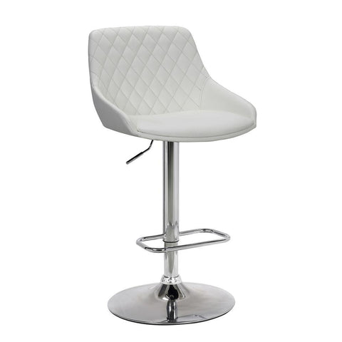 Armen Anibal Contemporary Adjustable Barstool in Chrome Finish and White Faux Leather