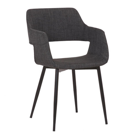 Armen Ariana Mid-Century Charcoal Open Back Dining Accent Chair