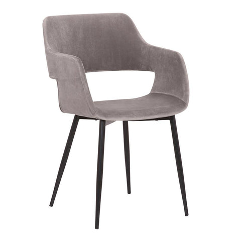 Armen Ariana Mid-Century Grey Open Back Dining Accent Chair