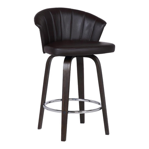 Armen Ashley Wood Back Swivel Brown Faux Leather Stool