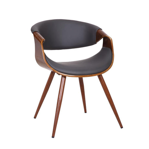 Armen Butterfly Mid-Century Dining Chair in Walnut Finish and Gray Fabric
