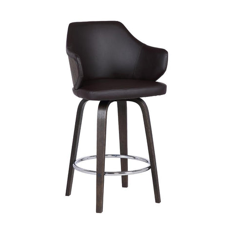 Armen Camden Mid-Century Brown Faux Leather Stool