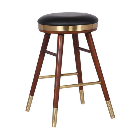 Armen Clara Backless Modern Black Faux Leather Stool