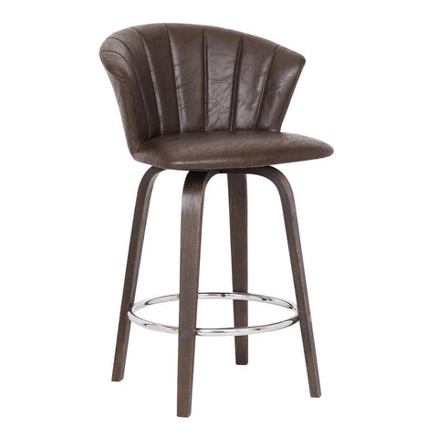 Armen Connie Modern Brown Faux Leather Stool