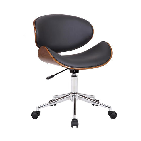 Armen Daphne Modern Office Chair In Chrome Finish with Gray Faux Leather And Walnut Veneer Back