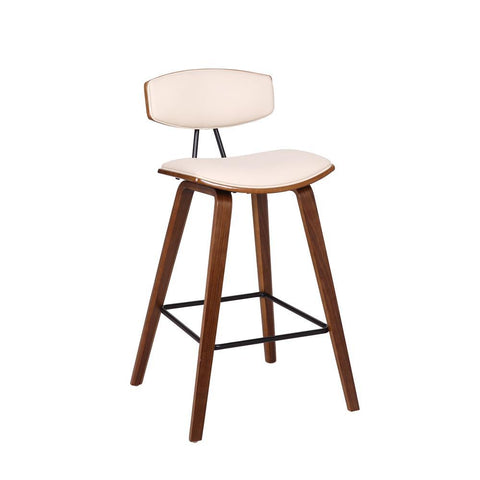 Armen Fox Mid-Century Stool in Cream Faux Leather with Walnut Wood