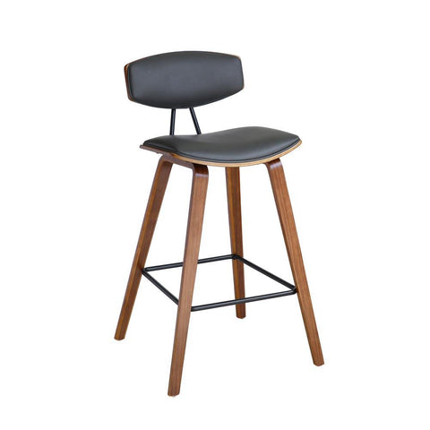 Armen Fox Mid-Century Stool in Gray Faux Leather with Walnut Wood