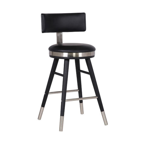 "Armen Grace Modern 26"" Black Faux Leather Bar Stool"