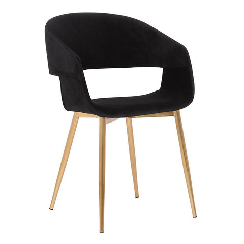 Armen Jocelyn Mid-Century Black Dining Accent Chair with Gold Metal Legs