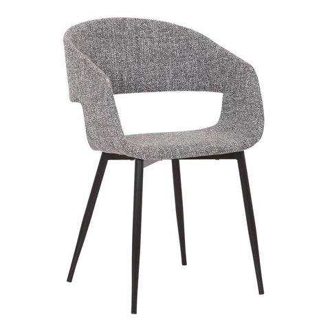 Armen Jocelyn Mid-Century Grey Dining Accent Chair with Black Metal Legs