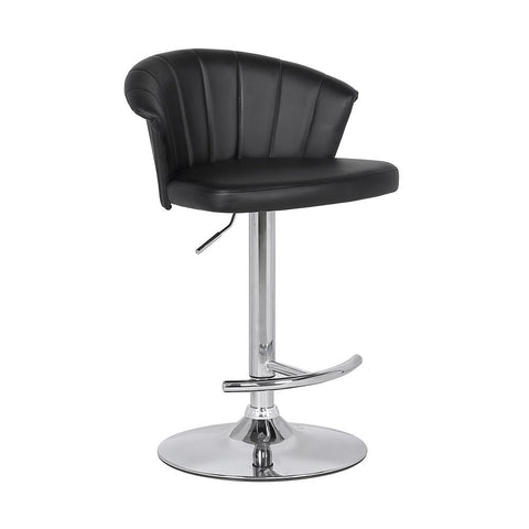 Armen Kenzie Adjustable Modern Black Faux Leather Bar Stool