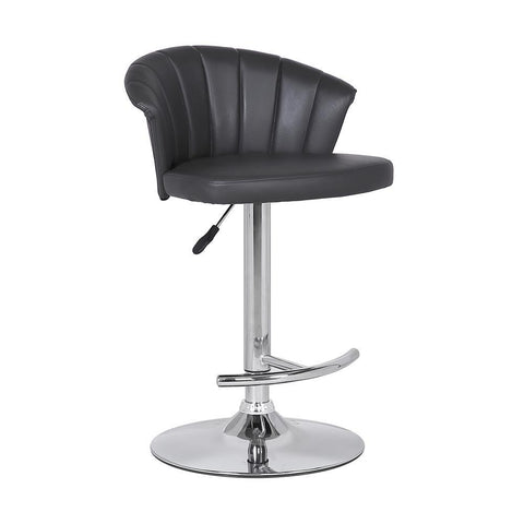 Armen Kenzie Adjustable Modern Grey Faux Leather Bar Stool