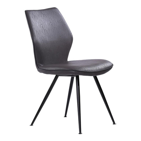 Armen Living Agoura Contemporary Dining Chair in Black Powder Coated & Grey Faux Leather - Set of 2