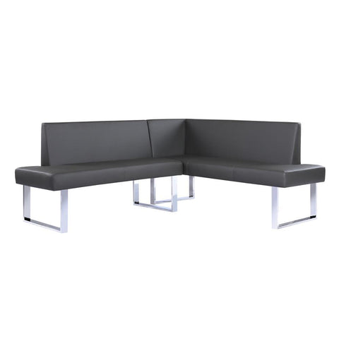 Armen Living Amanda Contemporary Nook Corner Dining Bench in Gray Faux Leather & Chrome