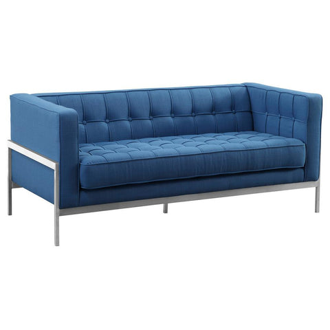 Armen Living Andre Contemporary Loveseat in Brushed Stainless Steel & Blue Fabric